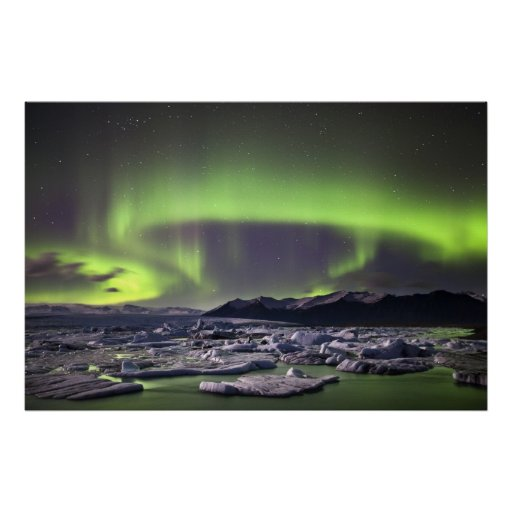 Aurora over a glacial lagoon posters