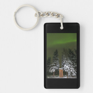 Aurora Over the Outhouse Double-Sided Rectangular Acrylic Keychain