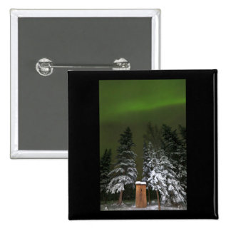 Aurora Over the Outhouse Pinback Button