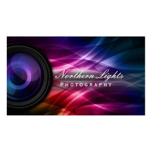 Aurora Photographer business card (front side)