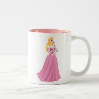 Aurora que sostiene la flor tazas de café