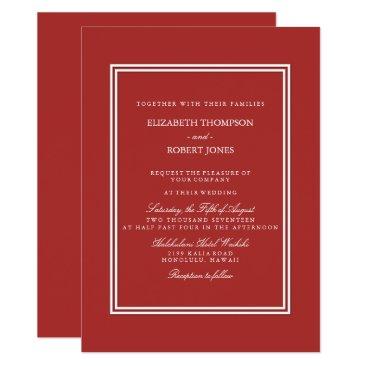 Beach Themed Aurora Red with White Wedding Detail Card