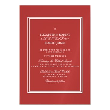 Beach Themed Aurora Red with White Wedding Detail Magnetic Card