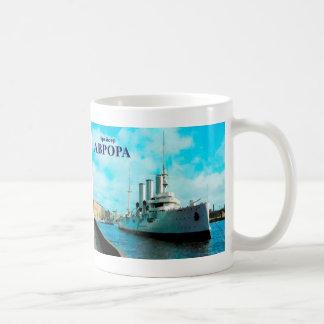 Aurora rusa del crucero taza básica blanca