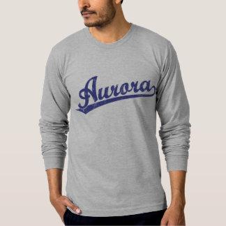 Aurora script logo in blue tee shirt