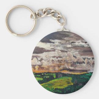 Aurora Valley Painting Basic Round Button Keychain