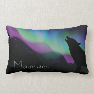 Aurora Wolf Starry Sky Personalized Lumbar Pillow