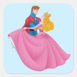 Aurora y príncipe Phillip Dancing Pegatina Cuadrada