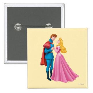 Aurora y príncipe Phillip Holding Hands Pin Cuadrada 5 Cm
