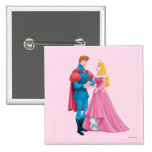 Aurora y príncipe Phillip Pin Cuadrado
