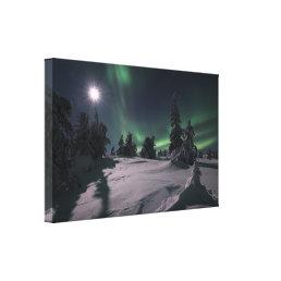 Auroras and the moon canvas print
