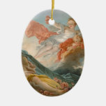 Aurore by Jean-Honore Fragonard Double-Sided Oval Ceramic Christmas Ornament