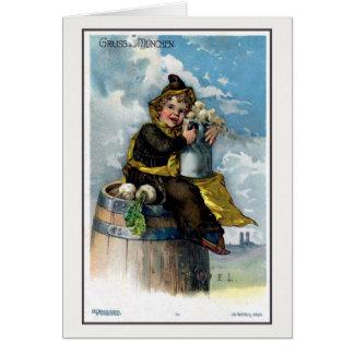 Aus 1900 del vintage c Gruss Muenchen Litho Tarjeta Pequeña