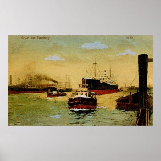 Aus Hamburgo, vintage de Gruss de Hafen Impresiones