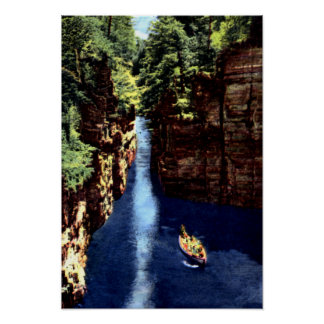 Ausable Chasm New York Boat in the Flume Print