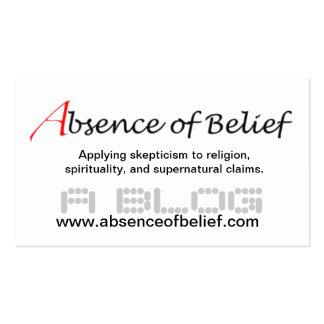 Ausencia de tarjeta de visita de la creencia