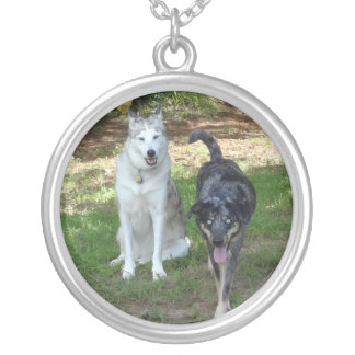 Ausky Dog and Catahoula Leopard Dog Friends Round Pendant Necklace