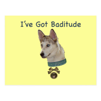 Ausky Dog with Baditude Postcard