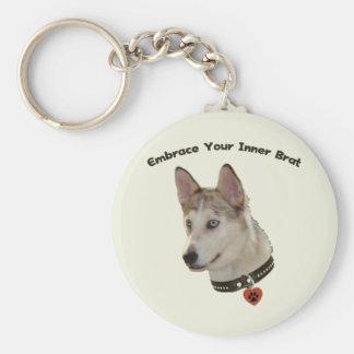 Ausky Inner Brat Dog Basic Round Button Keychain