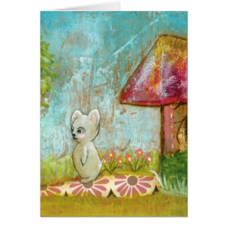 Auspicious Day Whimsical Woodland Mouse Folk Art Card