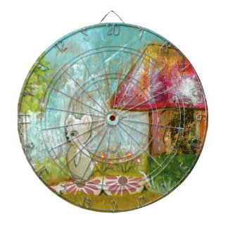 Auspicious Day Whimsical Woodland Mouse Folk Art Dartboard With Darts