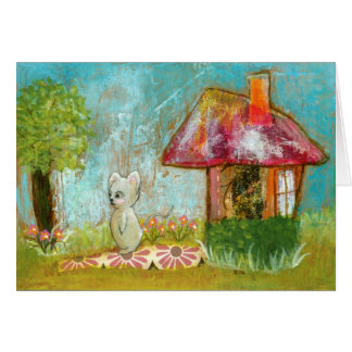 Auspicious Day Whimsical Woodland Mouse Folk Art Greeting Card