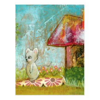 Auspicious Day Whimsical Woodland Mouse Folk Art Postcard