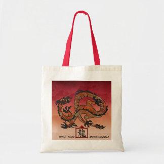 Auspicious Dragon Red Skies Custom Name Message Budget Tote Bag