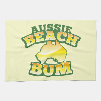 Aussie Beach Bum! with Australian map Hand Towel
