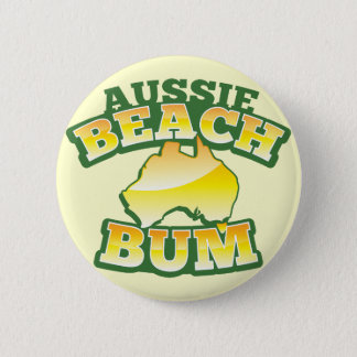 Aussie Beach Bum! with Australian map Pinback Button