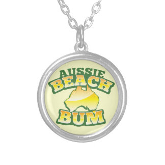 Aussie Beach Bum! with Australian map Silver Plated Necklace