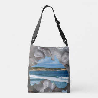 Aussie Beach View Through Aussie Map, Crossbody Bag