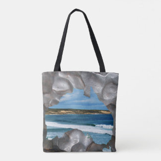 Aussie Beach View Through Aussie Map, Tote Bag