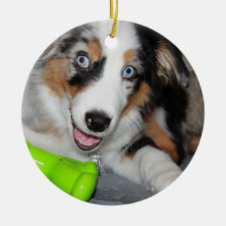 aussie blue merle puppy.png Double-Sided ceramic round christmas ornament