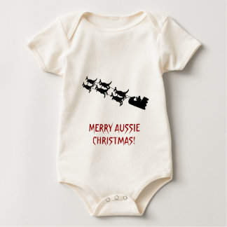 Aussie Christmas Gifts, Kangaroo Sleigh Apparel Baby Bodysuit