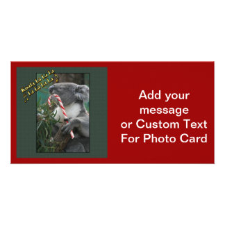 Aussie Christmas Koala with Candy Cane Card