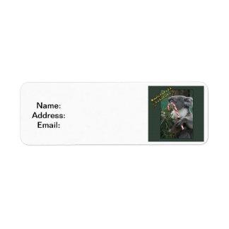 Aussie Christmas Koala with Candy Cane Custom Return Address Label