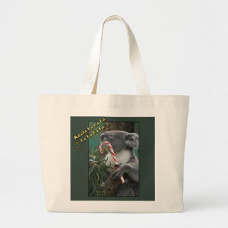 Aussie Christmas Koala with Candy Cane Large Tote Bag