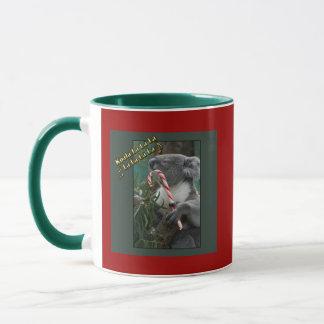 Aussie Christmas Koala with Candy Cane Mug