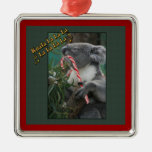 Aussie Christmas Koala with Candy Cane Square Metal Christmas Ornament