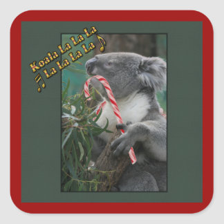 Aussie Christmas Koala with Candy Cane Square Sticker