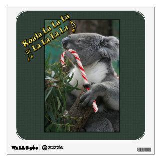 Aussie Christmas Koala with Candy Cane Wall Sticker