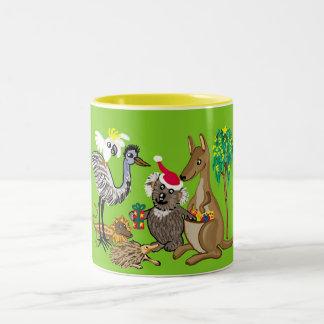 aussie christmas Two-Tone coffee mug