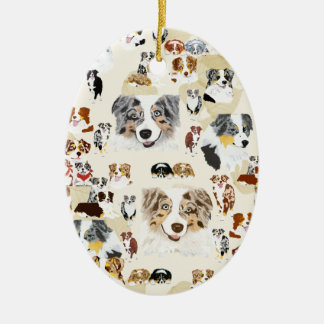 Aussie Collage Double-Sided Oval Ceramic Christmas Ornament