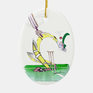 aussie cricket eye on the ball, tony fernandes Double-Sided oval ceramic christmas ornament