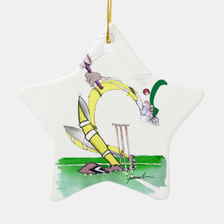 aussie cricket eye on the ball, tony fernandes Double-Sided star ceramic christmas ornament