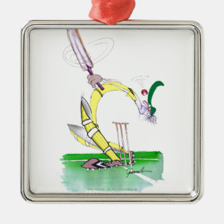 aussie cricket eye on the ball, tony fernandes Silver-Colored square decoration