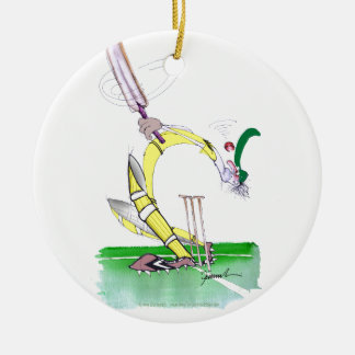 aussie cricket eye on the ball, tony fernandes Double-Sided ceramic round christmas ornament