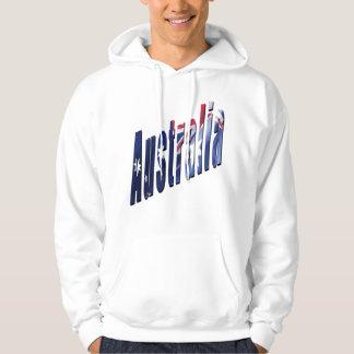 Aussie Dimensional Logo, Mens White Hoodie