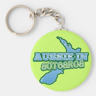 Aussie en Aotearoa (NUEVA ZELANDA) Llavero Redondo Tipo Pin